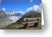 Empty Park Bench Greeting Cards - Swiss Alps, Aletsch Glaciers Greeting Card by Hiroshi Higuchi