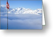 Snowcapped Greeting Cards - Swiss Alps Panorama Greeting Card by Image by Christian Senger