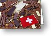 Nut Chocolate Greeting Cards - Swiss Chocolate Greeting Card by Joana Kruse