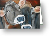 Bull Greeting Cards - Swiss Misses Greeting Card by Laura Carey