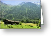 Cabins Greeting Cards - Swiss Mountain Home Greeting Card by Jeff Kolker