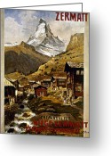 Advertisement Greeting Cards - Swiss Travel Poster, 1898 Greeting Card by Granger