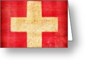 Ancient Art Greeting Cards - Switzerland flag Greeting Card by Setsiri Silapasuwanchai
