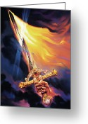 Fire Greeting Cards - Sword of the Spirit Greeting Card by Jeff Haynie