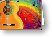 Music Notes Greeting Cards - SXSW Musical Guitar fantasy painting print Greeting Card by Svetlana Novikova