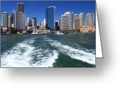 Boat Greeting Cards - Sydney Circular Quay Greeting Card by Melanie Viola
