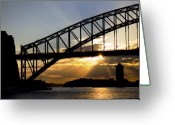 Sunset Greeting Cards - Sydney Harbour sunset Greeting Card by Sheila Smart