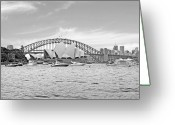 Custom Culture Greeting Cards - Sydney Hardour in Black and White Greeting Card by Chris Smith