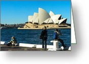 Sydney Harbour. Circular Quay Greeting Cards - Sydney Opera House panorama Greeting Card by Fran Woods