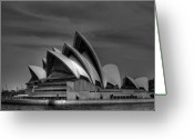 Custom Culture Greeting Cards - Sydney Opera House Print Image in Black and White Greeting Card by Chris Smith