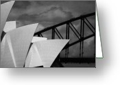 Opera Greeting Cards - Sydney Opera House with Harbour Bridge Greeting Card by Sheila Smart