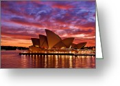 Lit Pyrography Greeting Cards - Sydney Operahouse Greeting Card by Preston Coe