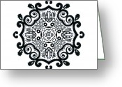 Fractal Flower Drawings Greeting Cards - Symbolic- Ink Mandala Greeting Card by Lindsay Kokoska