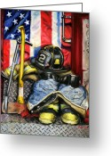 Fighting Painting Greeting Cards - Symbols Of Heroism Greeting Card by Paul Walsh
