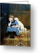 Hand On Chin Greeting Cards - Sympathy Greeting Card by Briton Riviere