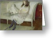 Pensive Greeting Cards - Symphony in White Greeting Card by Paul Cesar Helleu