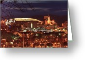 Syracuse Orange Greeting Cards - Syracuse Dome at night Greeting Card by Everet Regal