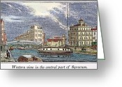 Erie Barge Canal Greeting Cards - Syracuse, New York, 1841 Greeting Card by Granger