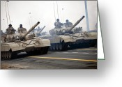 Battle Tanks Greeting Cards - Syrian Tanks Participate In The Kuwaiti Greeting Card by Stocktrek Images