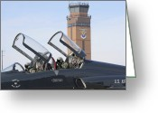 Control Greeting Cards - T-38 Talon Pilots Make Their Final Greeting Card by Stocktrek Images