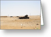 Battle Tanks Greeting Cards - T-55 Tanks Destroyed By Nato Forces Greeting Card by Andrew Chittock
