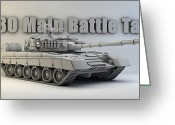Cinema 4d Greeting Cards - T-80 Main Battle Tank Greeting Card by Dale Jackson
