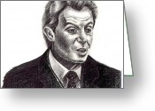 Talking Drawings Greeting Cards - T. Blair Greeting Card by Evrim Campbell