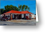 Crossroads Greeting Cards - T. R. Lee Service Station Greeting Card by Doug Strickland
