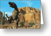 Wondrous Digital Art Greeting Cards - T-rex Greeting Card by Corey Ford