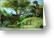 Wondrous Digital Art Greeting Cards - T-Rex Defiance Greeting Card by Corey Ford