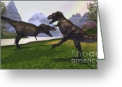 Wondrous Digital Art Greeting Cards - T-rex Fight Greeting Card by Corey Ford