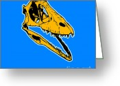 Graphic Greeting Cards - T-Rex Graphic Greeting Card by Pixel  Chimp