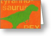 T Rex Greeting Cards - T Rex Greeting Card by Laurie Breen