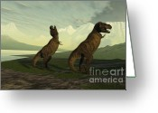 Wondrous Digital Art Greeting Cards - T-rex Roar Greeting Card by Corey Ford