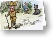 Political Acts Greeting Cards - T. Roosevelt: Teddy Bear Greeting Card by Granger