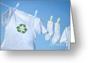 Clothesline Greeting Cards - T-shirt with recycle logo drying on clothesline on a  summer day Greeting Card by Sandra Cunningham