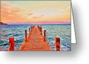 Peninsular Greeting Cards - Taba Heights on the Red Sea Pier In The Evening Greeting Card by Chris Smith