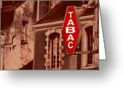 Smoking Book Greeting Cards - Tabac - A French Tabacco Shop Greeting Card by Mark Hendrickson