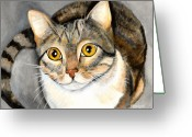 Gray Tabby Greeting Cards - Tabby Cat Greeting Card by Elaine Hodges