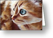Kitten Pastels Greeting Cards - Tabby Cat  Greeting Card by Mary Sparrow Smith