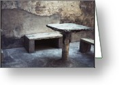 Peeling Greeting Cards - Table And Bench Greeting Card by Oliver Rockwell
