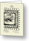Table Drawings Greeting Cards - Table Cover 1895 Patent Art Greeting Card by Prior Art Design