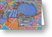 Round Table Greeting Cards - Table For Three Greeting Card by Paul Wear