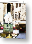 Wine Bottle Greeting Cards - Table for Two Greeting Card by Barb Pearson