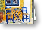 Wicker Chairs Greeting Cards - Table for Two Greeting Card by Maria Barry
