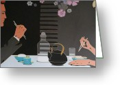 Varvara Stylidou Greeting Cards - Table For Two Greeting Card by Varvara Stylidou