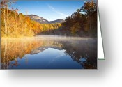 Pond Reflection Greeting Cards - Table Rock State Park Autumn Sunrise - Balance Greeting Card by Dave Allen