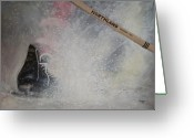 Pond Hockey Painting Greeting Cards - Tacks Greeting Card by Ron  Genest