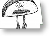 Sneakers Greeting Cards - Taco Mustache Greeting Card by Karl Addison