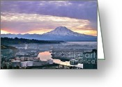 Commencement Bay Greeting Cards - Tacoma Dawn Greeting Card by Sean Griffin
